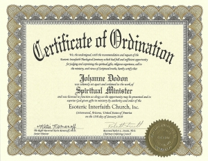 Certificate of Ordination - Spiritual Minister